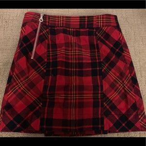LAMB- Red Plaid Cotton and Wool Blend Mini Skirt